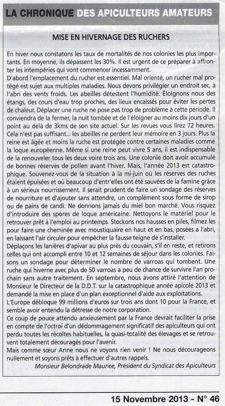La Gazette ariégeoise 11-2013 Mise en hivernage des ruchers